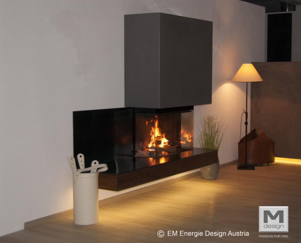 Foyer Design Bois : Mdesign foyer bois double coin cheminées poêles à